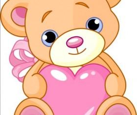 Teddy bear with pink heart vector 02