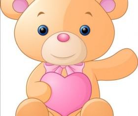 Teddy bear with pink heart vector 03