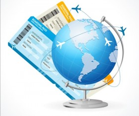 Tellurion with airline tickets vector