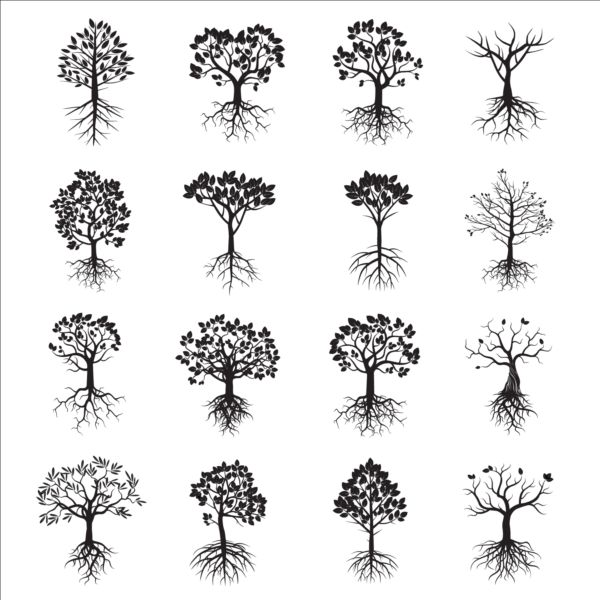 Tree with tree root icons