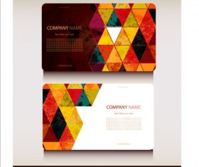 Triangle with grunge styles business card vector 01