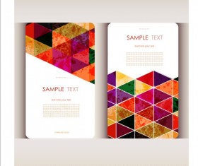 Triangle with grunge styles business card vector 02