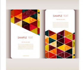 Triangle with grunge styles business card vector 03