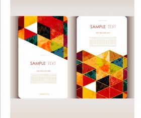 Triangle with grunge styles business card vector 05
