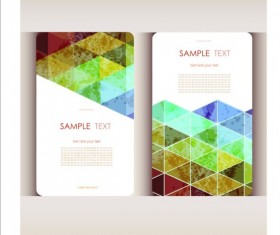 Triangle with grunge styles business card vector 06