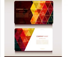 Triangle with grunge styles business card vector 07