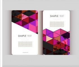 Triangle with grunge styles business card vector 08