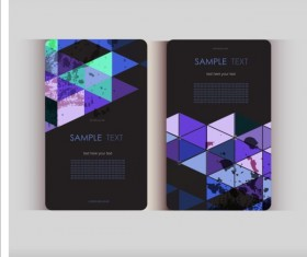 Triangle with grunge styles business card vector 09