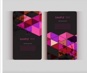 Triangle with grunge styles business card vector 12