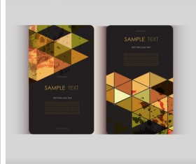 Triangle with grunge styles business card vector 13