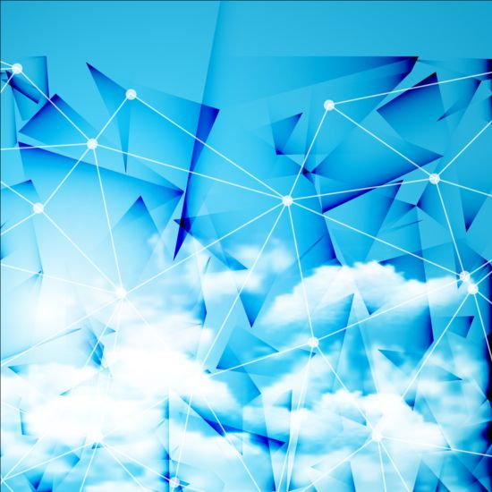 Triangles tech background and cloud vector 01
