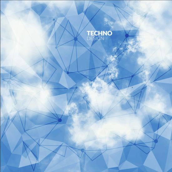 Triangles tech background and cloud vector 02
