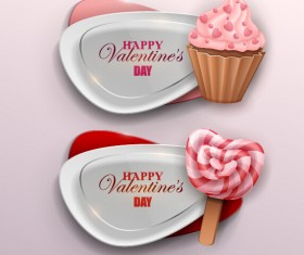 Valentines banner with sweet candy vector 02