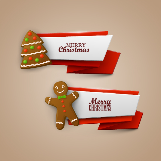 Vector christmas banners illustration set 02