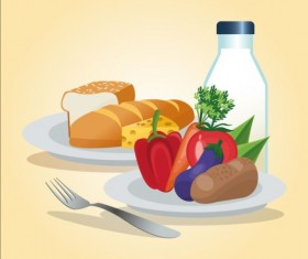 Vegetables with bread and fork vector
