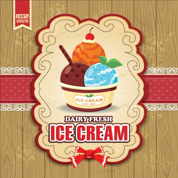 Vintage Ice cream poster design vector - Vector Cover, Vector Food ...