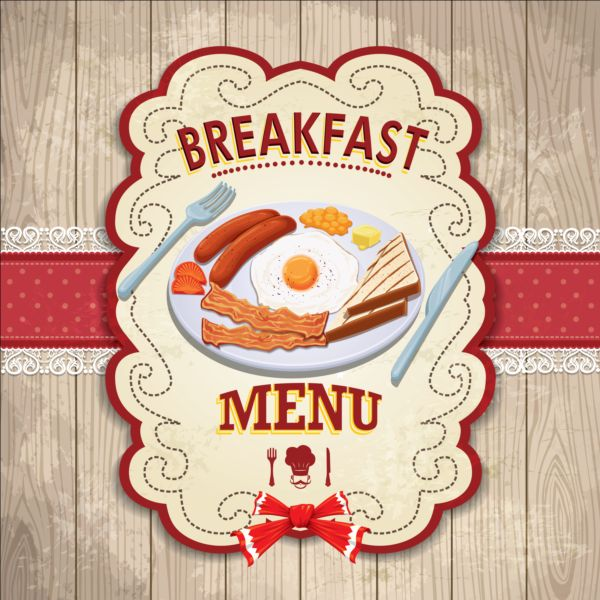 Vintage Breakfast Poster Design Vector Vector Cover