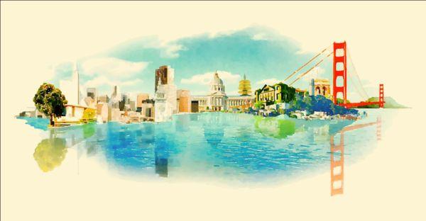 Watercolor san francisco pano vector