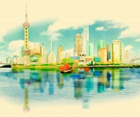 Watercolor shanghai pano vector