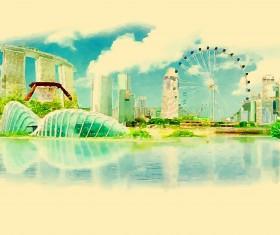 Watercolor singapor vector
