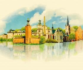 Watercolor stockholm vector