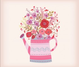 Watering can with watercolor flowers vector material 03
