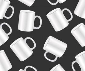 White mug seamless pattern vector