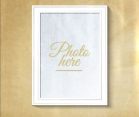 White photo frame with beige wall vector 02