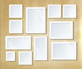 White photo frame with beige wall vector 04