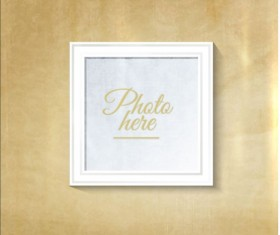 White photo frame with beige wall vector 05