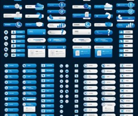 White with blue User buttons vector 02