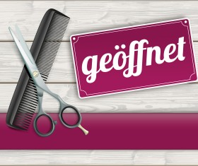 Wood background with scissors comb vector 01