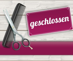 Wood background with scissors comb vector 02