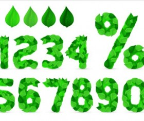 leaves with numbers vector design