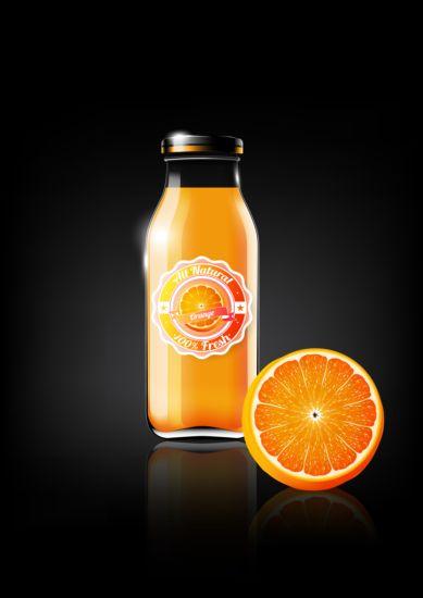 orange juice and glass bottle vector - Vector Food free ...