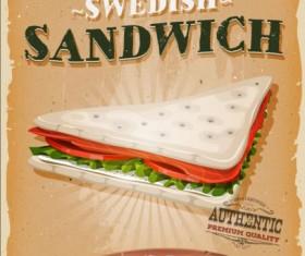swedish sandwich poster vintage vector