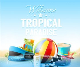 tropical paradise with blue background vector