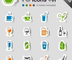 16 Kind drink icons stickers