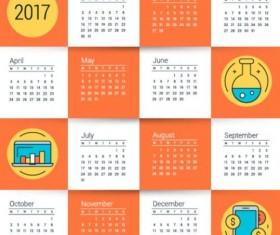 2017 Grid calendar vector material 01