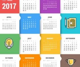 2017 Grid calendar vector material 02