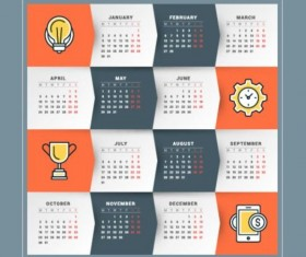 2017 Grid calendar vector material 04