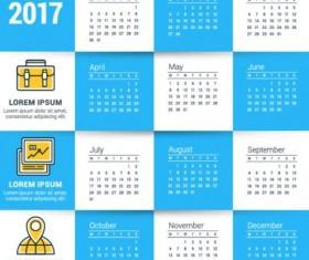 2017 Grid calendar vector material 05
