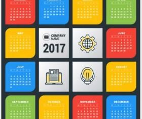 2017 Grid calendar vector material 06