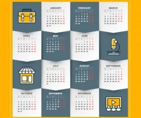 2017 Grid calendar vector material 07