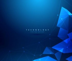 3D geometric shapes with blue background