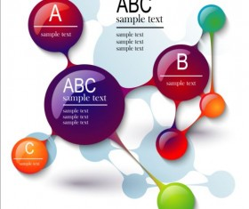 3D molecules infographics tamplate vector 02