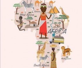 Africa map with infographic vector 01