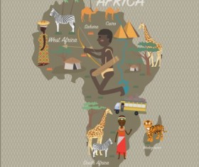 Africa map with infographic vector 02