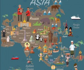 Asia map with infographic vector