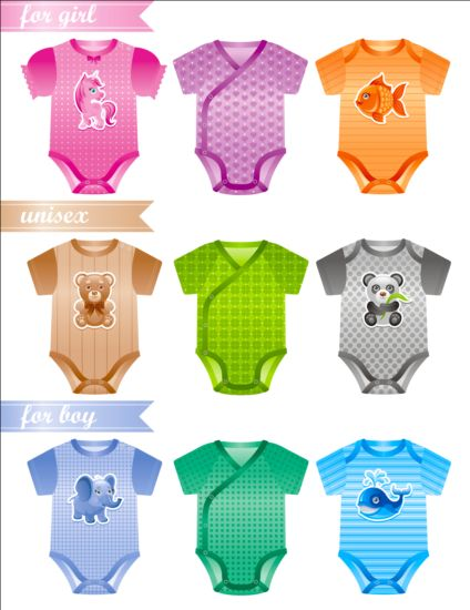 Baby clothes design vector material 01